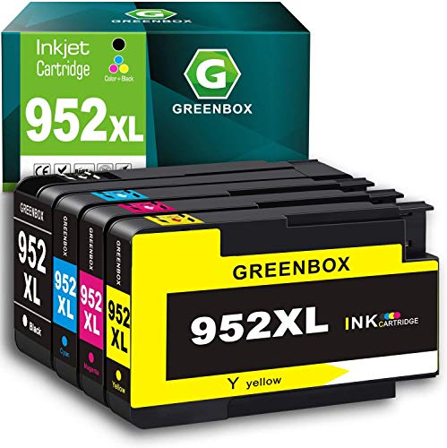 GREENBOX Remanufactured Ink Cartridge Replacement for HP 952 XL 952XL for OfficeJet Pro 8710 8210 8715 7740 7720 8720 8730 8740 8702 8216 8725 8700 8200 (1 Black 1 Cyan 1 Magenta 1 Yellow)