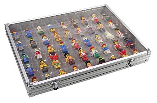 Vitrina de aluminio con 45 espacios, ideal para colecciones de Lego, Mineral, Fossil o Figuritas y Almacenamiento.