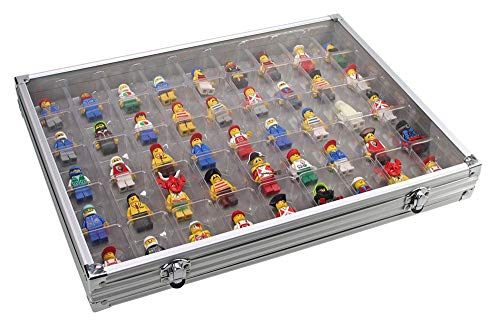 Vitrina de aluminio con 45 espacios. Ideal para colecciones y almacenamiento de Lego, Mineral, Fossil o Figurinas.