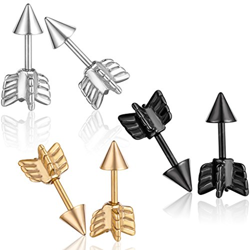 Yumilok Pendientes de acero inoxidable con diseño de cohete y pinchos hipoalergénicos, para mujeres, hombres y niños, 3 pares (negro, plata, oro)