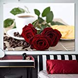 ZHJJD Large Size Coffee Cup Romantic Red Rose Flowers Poster Modern Aesthetics Pictures Modern Wall Living Room Cafe Home Decoration 60x80cm Frameless