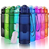 ZORRI Sports Water Bottle, 400/500/700ml/1L, 32 OZ BPA Free Leak Proof Tritan Bottles for Cycling, Fitness, Gym, Yoga, Camping, School - Kids/Adults Gym Bottles with Filter, Lockable Flip Top Open Lid