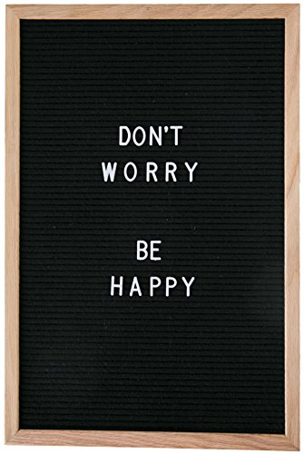 """Word Up Premium Felt Letter Board (12x18, Oak Frame and Black Felt) with 300 3/4"""" Characters and Emojis and 350 1"""" Characters"""