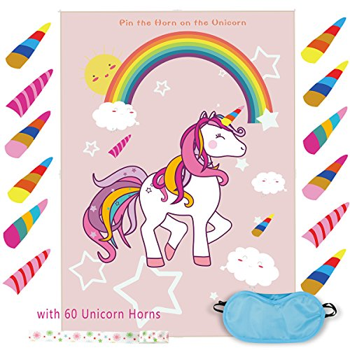 Pin The Horn on The Unicorn Game Birthday Party Favor Games Unicorn Party Supplies Unicorn Gifts,with 60 Horns (1)