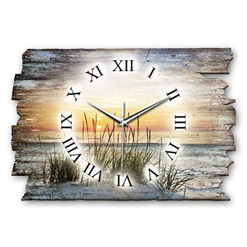 Kreative Feder Sandstrand Meer Landhaus Shabby Style Designer Wanduhr Funkuhr aus Holz *Made in Germany leise ohne Ticken WH071FL 40x27cm (leises Funkuhrwerk)