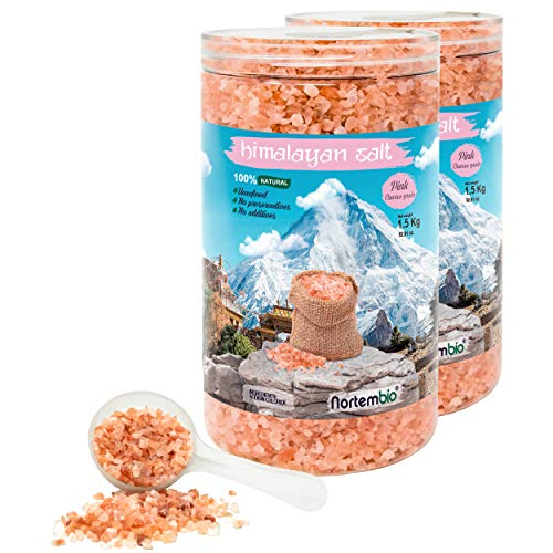Nortembio Rosa Himalaya-Salz 2x1,5 Kg. Grob (2-5 mm). 100% Natürlich. Unraffiniert. Ohne Konservierungsstoffe. Von Hand extrahiert. Aus Punjab Pakistan. Premium-Qualität.