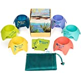 Outdoor Beach Cup Holder Coaster Set by Castaway Shoal-- Perfect for Camping, Beach, Lawn or Garden Party. The Starfish Coaster Set Has Molded Rubber Bottoms, Mesh Carry Bag and 2 Can Coolers.