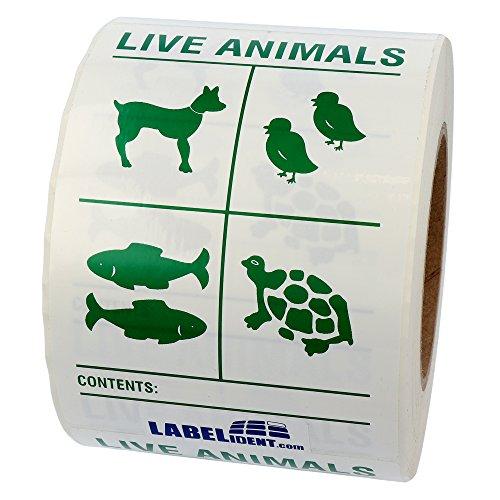 Labelident Transportaufkleber - enthält lebende Tiere Live Animals (Lebende Tiere) - 100 x 150 mm - 500 Verpackungskennzeichen auf 76 mm (3 Zoll) Rolle
