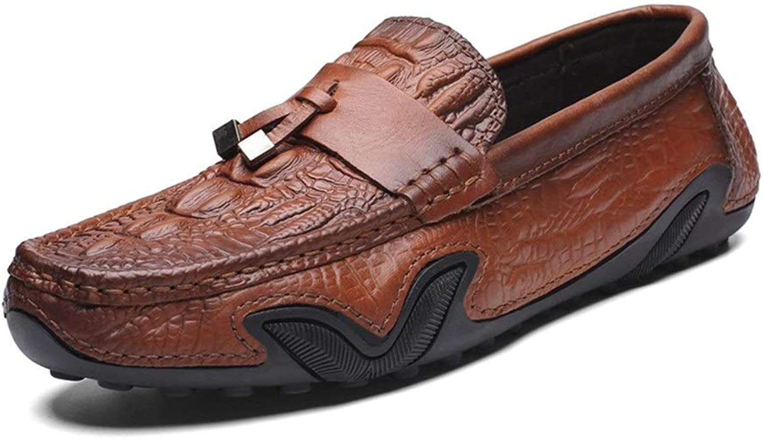 Driving Loafers for Men Leisure Oxfords with Front Tassel Casual Flat Penny shoes Embossed Leather Upper Slip On Walking Boat shoes Lightweight (color   Brown, Size   5.5 UK)