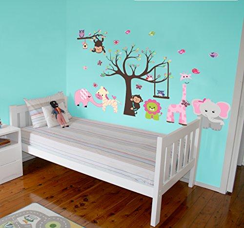 Outlet DLux Vinilo Decorativo Adhesivo - Jirafa y Elefante Rosa. Pegatina de Pared autoadhesiva e Impermeable para niños y bebés habitación Infantil !