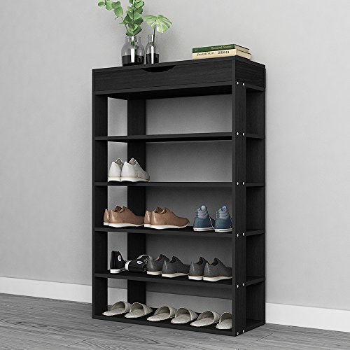 sogesfurniture Shoe Rack 29.5 Inches 5 Tier Free Standing Wooden Shoe Storage Shelf Shoe Organizer,Black BHUS-L24-BK