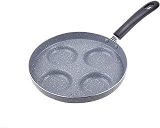 KGHONY – Sartén de cuatro agujeros para tortilla pan para huevos de jamón, sartenes para maquillarse, sin aceite de humo, para desayuno, olla, sartén, sartén de acero inoxidable, wmf wok gris