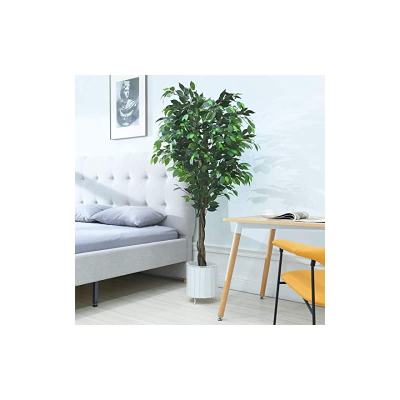 silk flower arrangements cozy castle artificial ficus tree 72in - artificial plant for home decor indoor, evergreen faux plants, 6-feet fake tree, tall plant with sturdy plastic nursery pot for living room, farmhouse, office