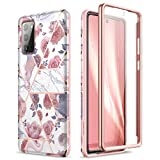 SURITCH for Samsung Galaxy Note 20 Marble Case, [Built-in Screen Protector] Natural Marble Full-Body Protection Shockproof Rugged Bumper Protective Cover for Galaxy Note 20 5G 6.7 Inch (Rose Marble)
