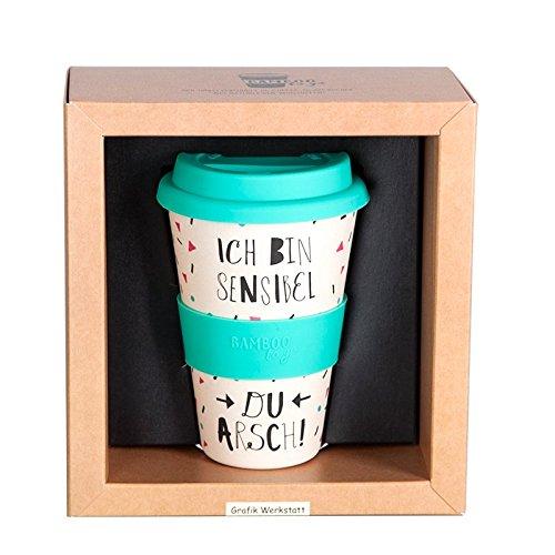 Grafik Werkstatt Deckel | Kaffee-Becher | Coffee 400 ml | -to-go | Ich Bin sensibel, beige, 9 x 9.5 x 14 cm