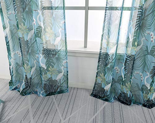 """QQHOME Palm Leaf Curtains, Tropical Bird Curtains, 63"""" Length Grommet Top Long Linen Window Coverings Privacy Semilucent Various Floral Pattern in Garden Style (52"""" Width, Green Plants, 2 Panels)"""