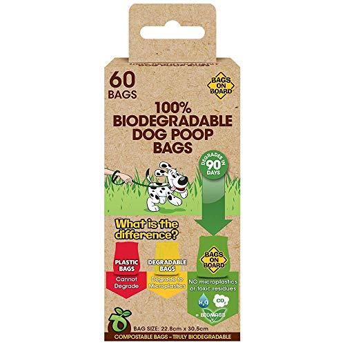 Bags on Board 3203990485-12p - 100% biologisch abbaubare und kompostierbare Hundekotbeutel - 60 Beutel