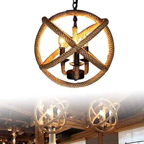 Industrial Vintage Deckenleuchte,Hanfseil Hängelampe Retro Industrie Kronleuchter Loft Lampe 5-Flammig Leuchte Einstellbare Länge