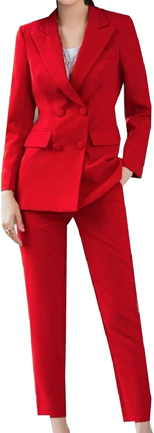 Baseby Women DoubleBreasted Career Blazer Jacket +Pants 2 Piece Set Suit