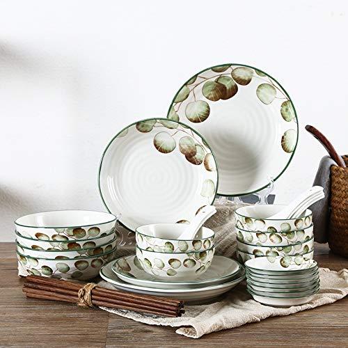 H/A Vajilla de cerámica Conjunto hogar Esmalte japonés Plato Plato otoño Hoja de Arce Hoja de otoño 32 TOM-EU (Color : White, Size : 32 Heads)