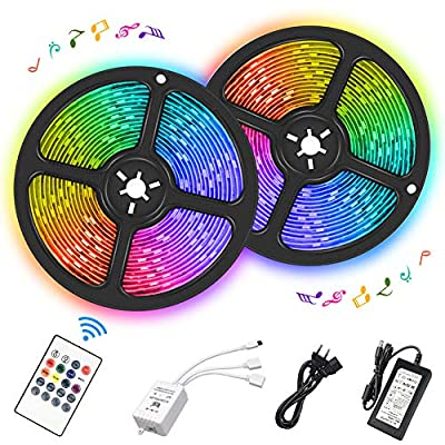 LED Strip Lights, 32.8ft Waterproof RGB Light Strip Kits with IR Remote Controller and 12V Power Supply Sync to Music for Home, Bedroom, Kitchen, Party, 300 LEDs 5050 Color Changing Rope Lights