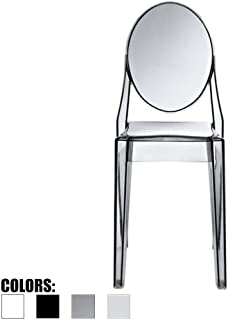 2xhome - Victoria Style Ghost Side Chair Transparent Acrylic Chair (Smoke)
