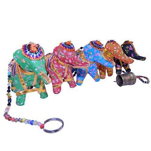 Elefantenstrang Elefant Stoff Perlen goldfarbiges Glöckchen Indien Kinderzimmer Deko Wohnaccessoire