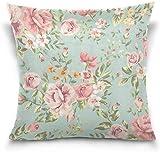 MODORSAN Funda de Almohada Decorativa para sofá de casa de 18x18, Funda de Almohada de cojín Floral Rosa Shabby Chic, Funda de Almohada para sofá Cama, Ambos Lados