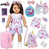 Ecore Fun 11 pcs American 18 inch Girl Doll Accessories Suitcase Travel Luggage Play Set - Girl 18' Doll Travel Carrier Storage, Including Suitcase Sunglasses Camera Cell Phone Shoes Toy Pet,ect