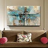 LEPOTN Pintura al óleo Abstracta Grande Pintada a Mano sobre Lienzo, Pintura de Pared Azul Verde Turquesa para decoración de Habitaciones linving-110 * 220cm