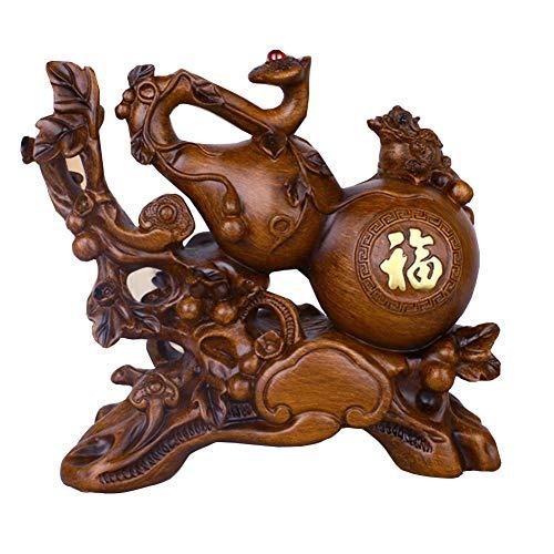 Ybzx Estatua Wu Lou Feng Shui Health, Wu Lou/Hu Lu/Calabash Sculptures Decoración del hogar, Oficina Hogar Prosperidad Decoración Regalo, Marrón