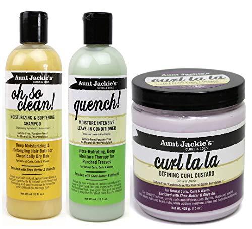 Aunt Jackies Curls & Coils Trio Bundle - Paquete de champú Oh So Clean de 355ml, crema para definir rizos Curl La La de 426g y acondicionador sin enjuague para hidratación intensa Quench