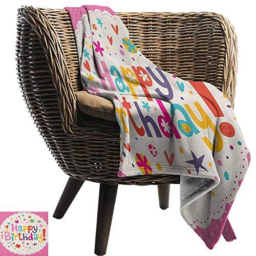 ZSUO Patroon deken Verjaardag, Gelukkige Verjaardag in Leuke Vormen Grappige Figuren met IJs Snoepjes en Ballonnen Multi kleuren Gezellige en Duurzame Fabric-Machine Wasbaar