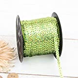Threadart 6MM Sequin String - 80 Yard Roll - Lime Green - For Crafting, Decorating, Costumes, More