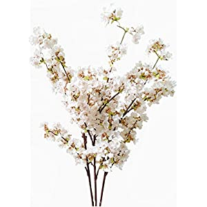 Artificial Cherry Blossom Branches Flowers Stems Silk Tall Fake Flower Arrangements for Home Wedding Decoration,39 Inch (3 pcs Ivory)