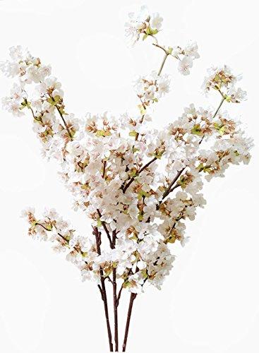 Flores artificiales de cerezo con tallos de seda, para decoración del hogar, boda, 99 cm (3 piezas de marfil)