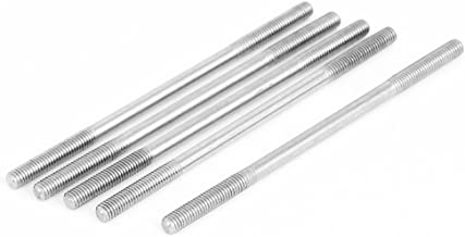 uxcell M5x100mm 304 Stainless Steel Double Ended Threaded Stud Screw Bolt 5Pcs