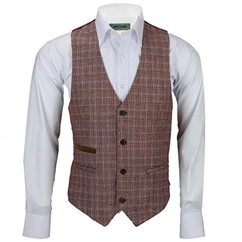 Xposed Chaqueta de tweed rojo granate, para hombre, estilo retro, vintage, a medida, chaqueta o chaleco, color Rojo, talla 54 EU