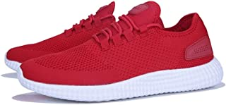 ZhaoXin Chen Fashion Sneaker for Men Athletic Sports Shoes Lace up Knit Mesh Fabric Lightweight Training Running (Color : Red, Size : 10.5 UK)