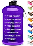 Venture Pal Large 128oz/74oz Leakproof BPA Free Fitness Sports Water Bottle with Motivational Time Marker to Ensure You Drink Enough Water Throughout The Day-74oz-Purple