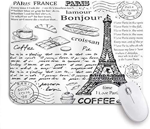 Gaming Mouse Pad rutschfeste Gummibasis, Paris Traditionelle berühmte Pariser Elemente Bonjour Croissan Kaffee Eiffelturm Druck, für Computer Laptop Schreibtisch