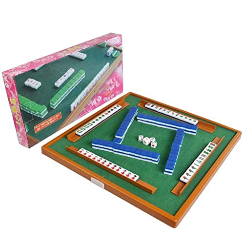 Auplew Juego de mesa de cajong portátil tradicional chino de Mahjong portátil de viaje para viajes prácticos