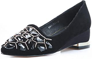 BalaMasa Womens Studded Beaded Casual Urethane Pumps Shoes APL11251