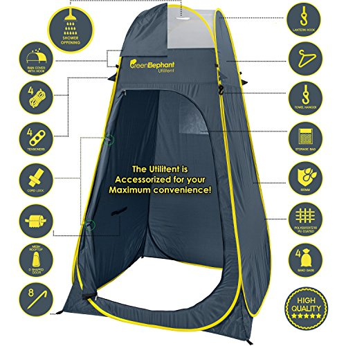 Green Elephant Pop Up Utilitent – Privacy Portable Camping, Biking, Toilet, Shower, Beach and Changing Room Extra Tall, Spacious Tent Shelter.