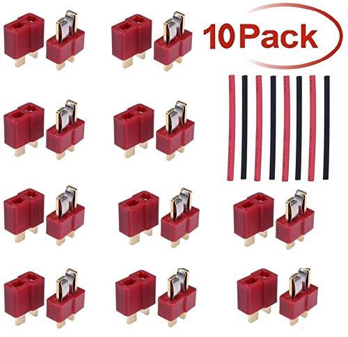 N/B T Stecker Deans T Plug stecker Stil Männlich und Weiblich Rc T-stecker mit 8 stücke 10cm Schrumpfschlauch Für RC LiPo Batterie(10 Paar)