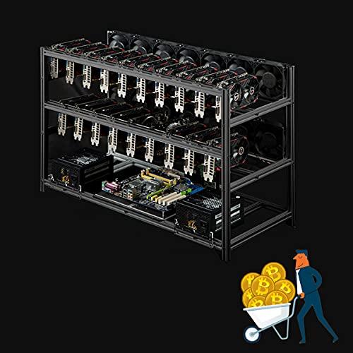 YCRD Professioneller 19 GPU Miner Mining-Koffer, Aluminiumrahmen Mining Rig Schwarz, stark und robust, Dual-Festplatte für Bitcoin-Währungs-Mining, nur Minen-Rack