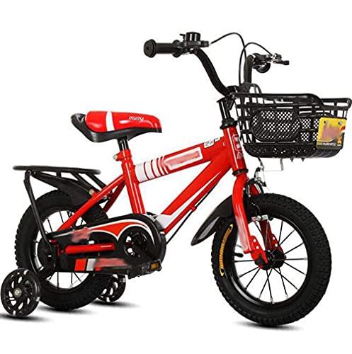 HUAQINEI Bicicletas para niños con Asiento Trasero Bicicletas de montaña para Hombres y Mujeres, Bicicletas para bebés, Bicicletas, carritos de Regalo para niños, Rojo, 12 Pulgadas