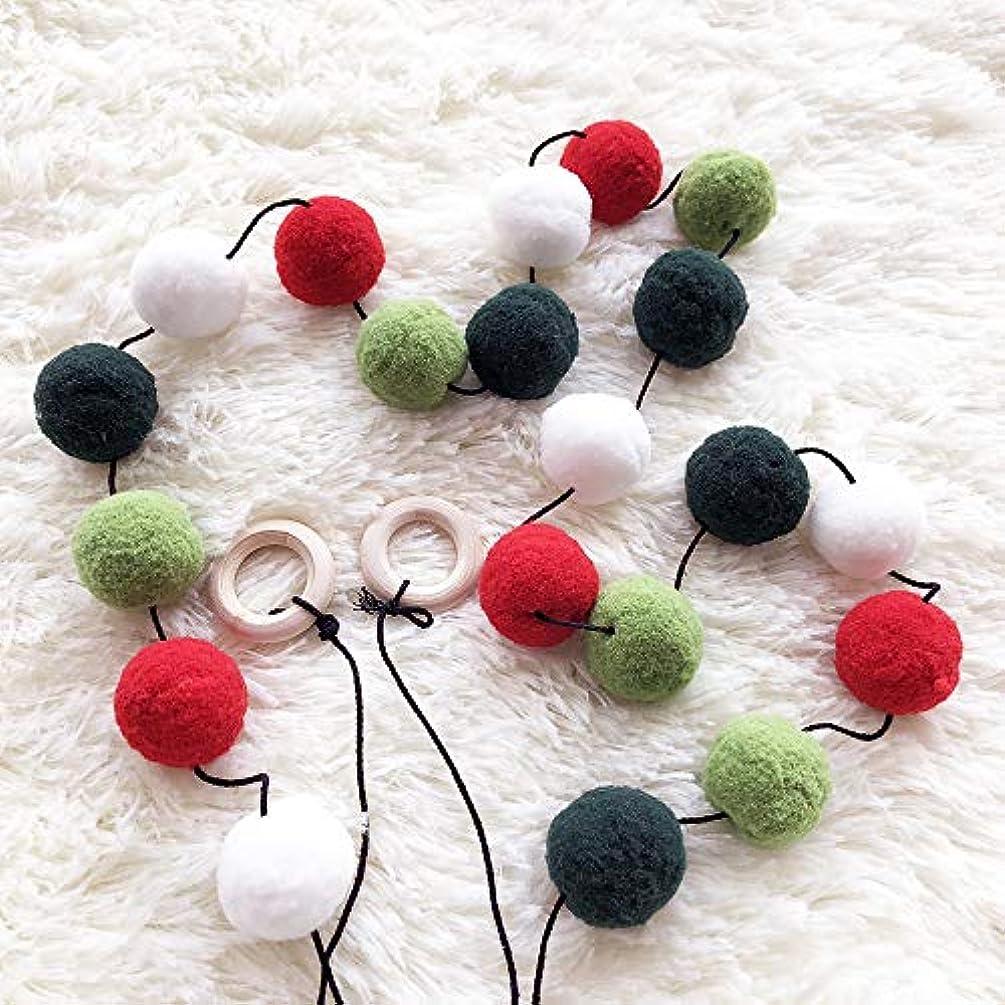 HAN-MM Handmade Felt Ball Garland by Yarn Rainbow Pom Pom Garland 2.5 cm Balls Green and White