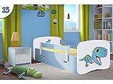 Kocot Kids Kinderbett Jugendbett 70x140 80x160 80x180 Blau mit Rausfallschutz Matratze Schublade und Lattenrost Kinderbetten für Junge - Dinosaurier 180 cm