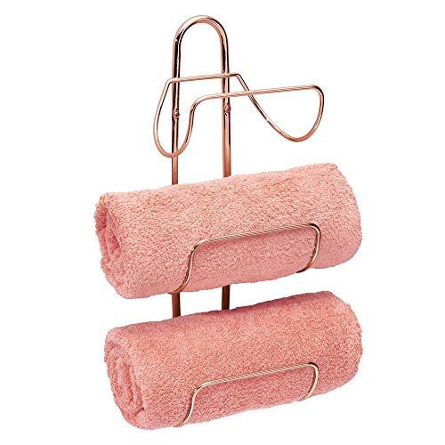 mDesign Estante toallero para montar en la pared – Estantería de baño en metal con 3 soportes – Elegante toallero de pared para guardar toallas de baño, de mano o manoplas – oro rosa